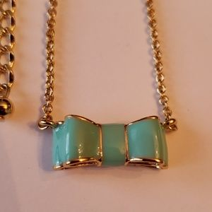 Kate Spade Nwt Bow Gold Green Necklace